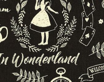 HALF YARD Kokka - Alice in Wonderland White on Black Background - Alice Dreams  - 85/15 Cotton Linen Blend - Japanese Import - 43000-300E