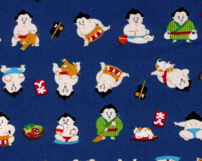 HALF YARD Cosmo Textile - A Sumo and his Kitty on Dark BLUE - AP76411 5E - Japanese Import