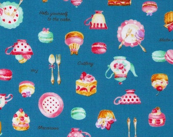 HALF YARD Cosmo Textile - Petite Patisserie Mix on BLUE - AP76408-2E - Pastry, Tea, Macaron, Cake, Cafe, Plate  - Japanese Import