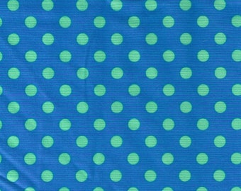 HALF YARD Cosmo Textile - Green Polka Dots on Blue CR8876-326 - Japanese Import Fabric
