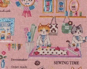 HALF YARD - Yuwa - Atelier Cat's Room - Sewing Cats on Pink - Sobakasu-Kids - Linen Cotton Oxford