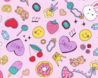 HALF YARD - Kokka - Pop Stickers Pink - 99010 1B Cotton Oxford - Kawaii, Cute, Donut, Ice Cream, Bunny