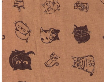HALF YARD Kiyohara - Cat Moods on Muted Mustard Mud by Shinzi Katoh  - Cotton Oxford - Japanese Import