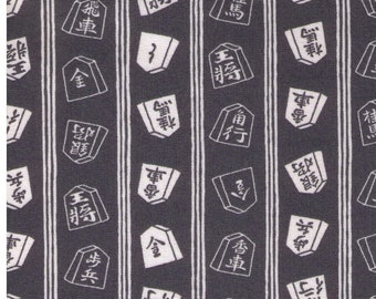 HALF YARD Cosmo Textile - Shogi Tiles on GREY - AP81405 4B - Game, Chess, General - Japanese Import