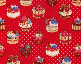 HALF YARD Cosmo Textile - Perfect Pastries and White Polka Dots on Watermelon RED - AP81602 2E - Cotton Oxford - Japanese Import