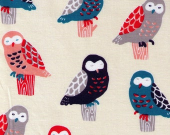 HALF YARD Cosmo - Perching Owls on Cream - Cotton Sheeting - Bird, Animal Japanese Import