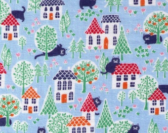HALF YARD Cosmo Textile - House Cat Adventures Outside on BLUE Double Gauze - AP75406 2C - Japanese Import