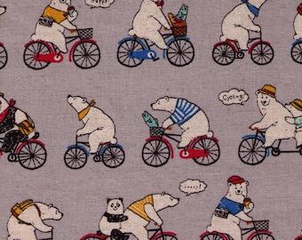 HALF YARD Cosmo Textile - Bears and  Bicycles on Grey - Cotton Linen Blend - Polar Bear, Panda, Baby Bear - Japanese Fabric