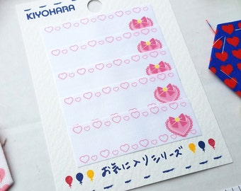 Kiyohara Iron-On Name Label - Hearts  and Mini Pink Hearts - Each label approx 2 3/8 Inch x 3/4 Inch - PTM440 - Japanese Imported