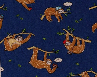 HALF YARD Cosmo Textile - Sloth on Navy - 80/20 Cotton/Linen Canvas - Beret, Vine, Branch, out on a limb - Japanese Import