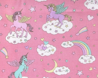HALF YARD Cosmo Textile - Vanilla Pop - Winged Unicorn Sky Mix on PINK - AP45505-1C - Pegacorn, Mythical, Heart, Rainbow, Cloud - Japanese