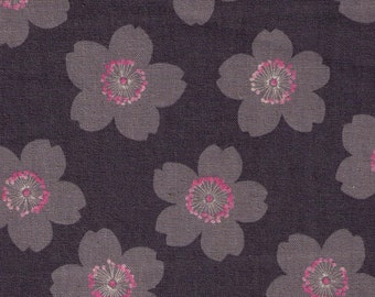 HALF YARD Cosmo Textile - Light Grey Cherry Blossoms on Slate GREY AP81304-3 - Cotton Linen Canvas - Japanese Import
