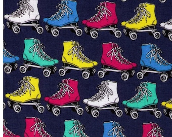 HALF YARD - Quad Roller Skates on Blue - Yellow, Pink, Blue, White and Teal Rollerskates - Cotton Sheeting - Japanese Import Fabric