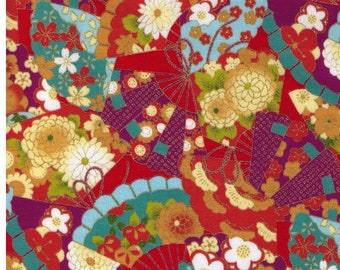 HALF YARD - Traditional Japanese Print on Red - 850184-41 Peach Aqua Purple - Gold Metallic Accents - Kimono Flowers, Fan, Butterfly Yukata