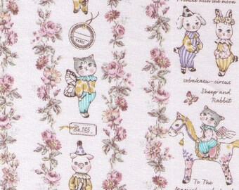 HALF YARD Yuwa - Sobakasu Kids - Magical Wonderland in Ivory - Bunny, Dog and Cat - Horse, Moon, Lullaby, Circus, Rabbit - Quilting Cotton