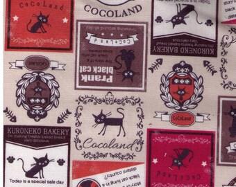 HALF YARD Coco Land Kuroneko Bakery and Prank Black Cat - Beige, Orange, Watermelon Red Colorway - 10002-21A - Cocoland Kitties - Kitty Ads