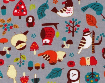 HALF YARD Cosmo Textile - Illustrator Nori - Woodland Mix of Birds on GREY CR8932 2E - Owl, Acorn, Leaf, Tree, Mushroom  - Japanese Import