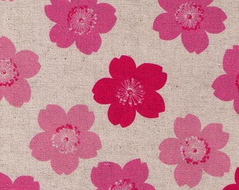 HALF YARD Cosmo Textile - Pink Cherry Blossoms on NATURAL AP81304-1 - Cotton Linen Canvas - Japanese Import