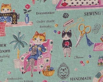 """End of Bolt - 22"""" Cut - Yuwa - Atelier Cat's Room - Sewing Cats on Green - Sobakasu-Kids - Linen Cotton Oxford"""
