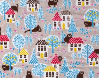 HALF YARD Cosmo Textile - House Cat Adventures Outside on Beige STONE Double Gauze - AP75406 2E - Japanese Import