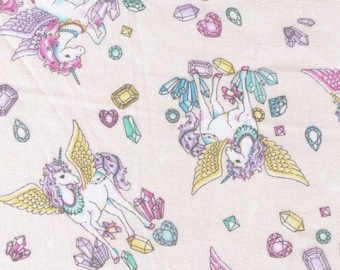 HALF YARD Cosmo Textile - Vanilla Pop Alacorn and Crystals CREAM - AP75409 A - Glitter Pegacorn Pegasus Unicorn Mythical Gem Diamond Sparkle