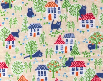 HALF YARD Cosmo Textile - House cat adventures outside on Beige IVORY Double Gauze - AP75406 2A - Japanese Import - Orange Tree, City Kitty