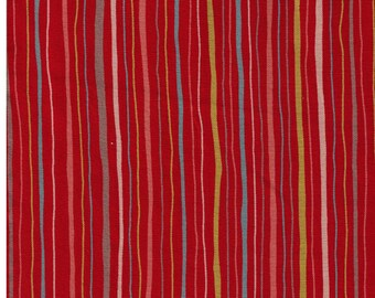 HALF YARD - Wavy Stripes on Red 240-3B - Yellow, Peach, Grey, Blue Stripes - Cotton Sheeting - Japan Import Fabric