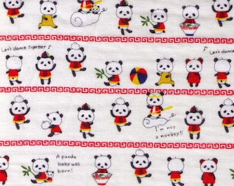HALF YARD Kobayashi - Chinese Panda on WHITE Double Gauze - 6426A - Dancing, Baby, Bamboo, Dumpling Bao, Monkey, Ramen, China - Japan Import