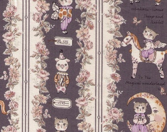 HALF YARD Yuwa - Sobakasu Kids - Magical Wonderland in Grey - Bunny, Dog and Cat - Horse, Moon, Lullaby, Circus, Rabbit - Quilting Cotton