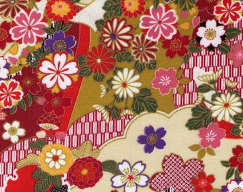 HALF YARD - Cherry Blossoms on Cream- 2200-1A Orange Olive Green Pink - Gold Metallic Accents - Traditional Japanese Flowers, Fan, Yukata