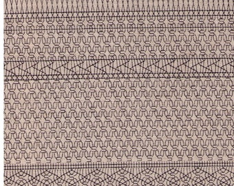 HALF YARD Yuwa Live Life - Geometric Print 442643-A - Black on Natural Linen - Cotton Linen Oxford  - Japanese Import Fabric