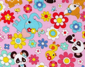 HALF YARD Cosmo Textile - Kawaii Animals and Flowers on Light Pink 02405-2B - Panda, Duck, Elephant, Bunny, Rabbit - Japanese Import