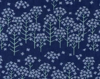 HALF YARD Yuwa - Mini Flowers on Blue - Cotton Linen Sheeting 443010-2 - Charmant Line Drawing - Japanese
