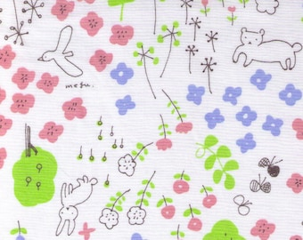 HALF YARD Yuwa - Bunny Fox in Flower Forest on WHITE - Megumi Sakakibara Collection 1808-A - Cotton Lawn - Line Drawing - Japanese