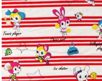 HALF YARD Honey Tune - Kawaii Sports on Red Stripes - Cheerleader, Volleyball, Soccer, Tennis, Basketball  - Lecien Japanese