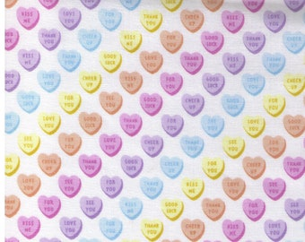 HALF YARD Kokka Pastel Pop -Vertical Candy Hearts on WHITE 76040-2A - Valentine Conversation Hearts Kiss Me Sweet Talk - Japanese Import