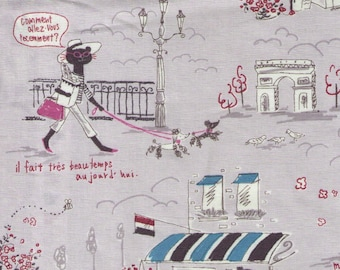 HALF YARD Parisian Cats on GREY - Miyako Kawaguchi 024F - Paris Cafe, France, Eiffel Tower, Arc de Triomphe, Bonjour, Merci, Flowers - Yuwa