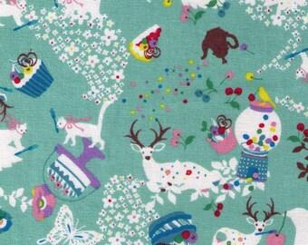 HALF YARD Kiyohara - Kayo Horaguchi - HKF-52MI Sweets and Animals on Sea Green - Bubblegum Machine Cake Cupcake, Sika Deer, Cat Bird - Japan