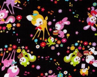 HALF YARD Cosmo Textile - Kawaii Musical Animals on BLACK 02405-1E - Panda, Duck, Elephant, Bunny, Rabbit - Japanese Import