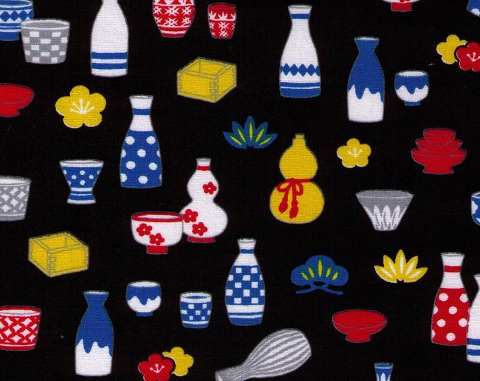 HALF YARD Cosmo Textile - Traditional Japanese Sake Bottles on BLACK - AP81405 3E - Japanese Import - Serving Dishes Wooden Cup