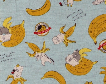 HALF YARD Kobayashi - Cats in Banana Parlor - AQUA Colorway - KTS6496-B - Kitten Kitty Strawberry Head - Cotton Linen