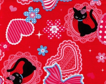 HALF YARD Lecien - Black Kitty with Bows and Hearts on Red - 40619-30 - Cotton Oxford - Japanese -  Lolita Lace Daisies Flowers Collar
