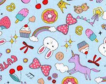 HALF YARD - Kokka - Pop Stickers Lt Blue - 99010 1C Cotton Oxford - Kawaii, Cute, Donut, Ice Cream, Bunny, Unicorn