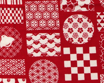 HALF YARD Traditional Cheater Blocks - Red Colorway - SK-4400-3A - Cotton Oxford - Geometric Asanoha Sakura Cherry Blossom Japanese