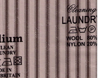 HALF YARD Yuwa - Laundry Tags on Stripes SZ826373 - Directions for Dry Clean, Organic, How to Launder Fibers - Suzuko Koseki - Japan Import