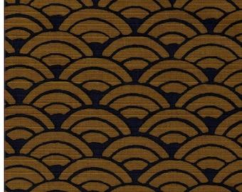 HALF YARD Seigaiha on Navy - Cotton Dobby - Olive Waves on Navy Indigo - 850108-24 Traditional Geometric Japanese Design - Sea Wave Fans
