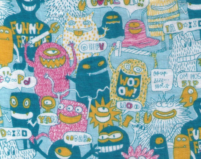 HALF YARD Crazy Monsters and Word Bubbles on Light BLUE - Miyako Kawaguchi 021W - Cotton Double Gauze - Funny Friends, Come on! - Pink Blue