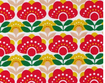 HALF YARD  Retro Flowers with Red, Yellow and Beige on White - 850178-3-1 - Cotton Oxford - Scandinavian Style - Japanese Import