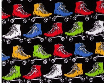 Half Yard - Quad Roller Skates on BLACK - Green, Blue, Red and Yellow Rollerskates - Cotton Sheeting - Japanese Import