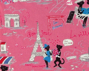 HALF YARD Parisian Cats on PINK- Miyako Kawaguchi 024D - Paris Cafe, France, Eiffel Tower, Arc de Triomphe, Bonjour, Merci, Flowers - Yuwa